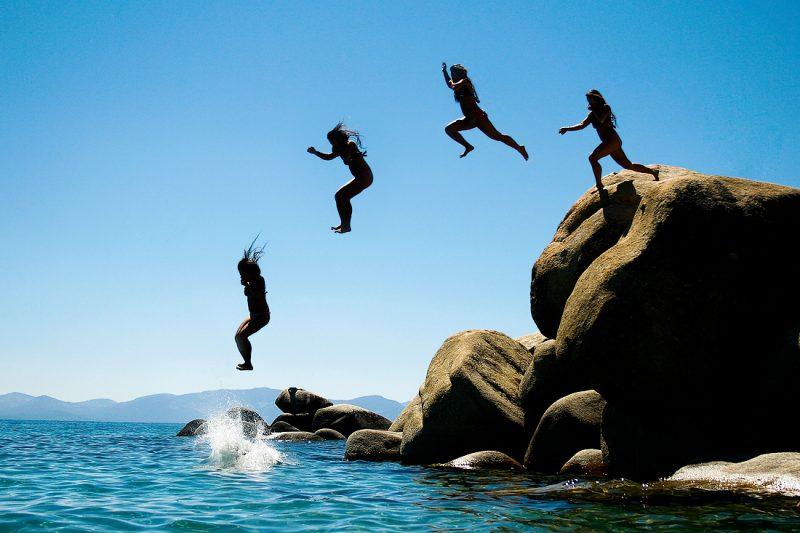 Jumping off Rocks at Lake Tahoe's Chimney Beach