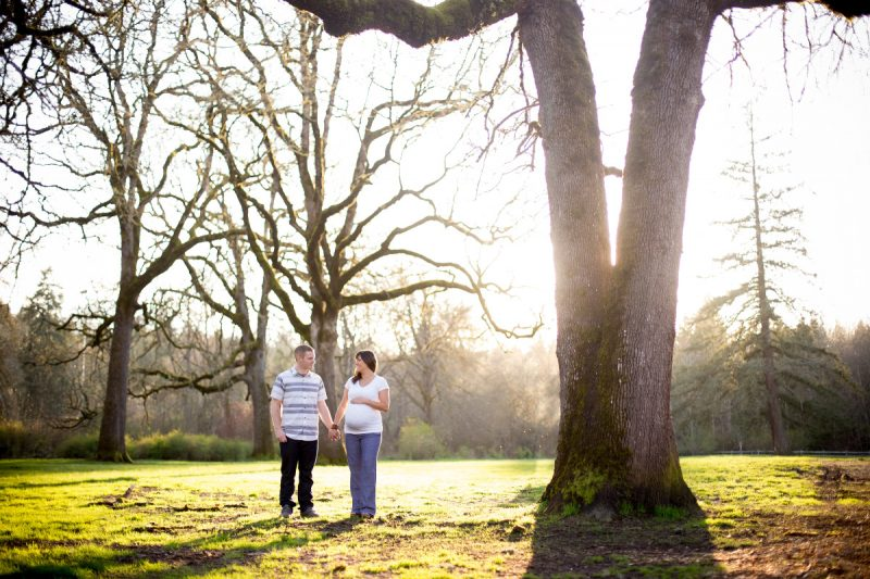 Maternity photos at sunset in Portland Oregon