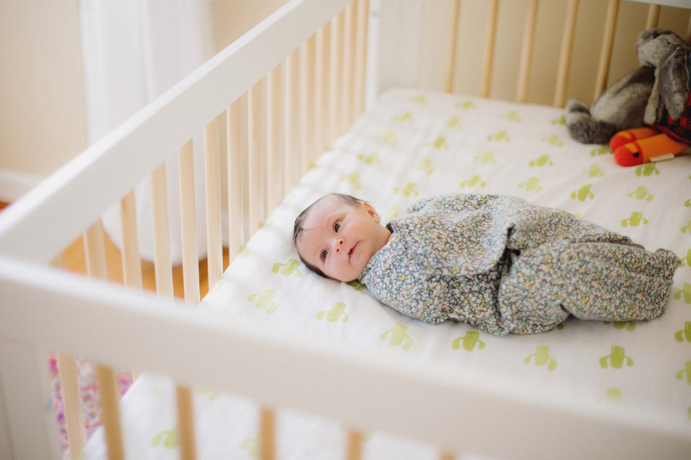 Baby's First Year in Photos - Swaddled in Crib