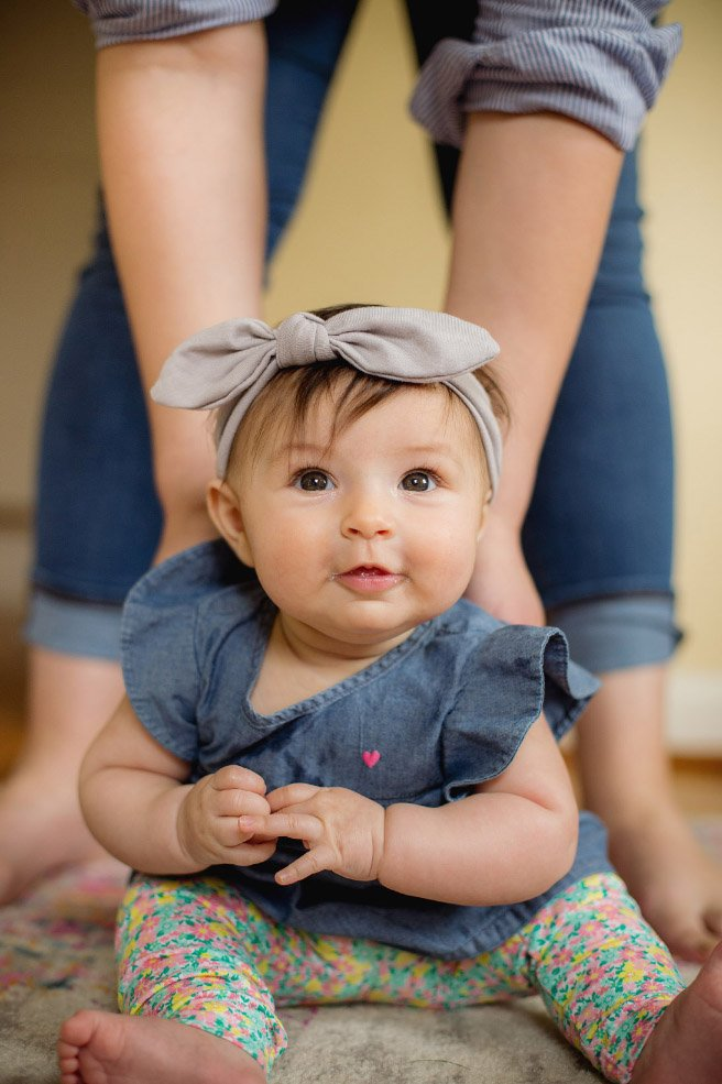 Baby's First Year in Photos - at 3 months, sitting up with mom's help