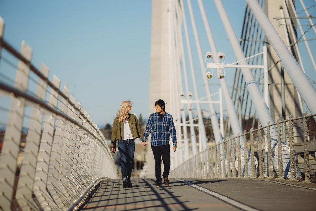 Engagement Photo Session - Walking on bridge