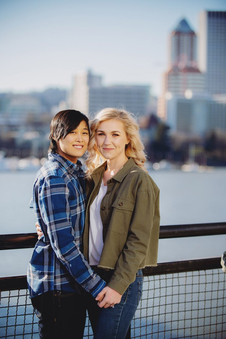 Engagement Photo Session - Portland in background