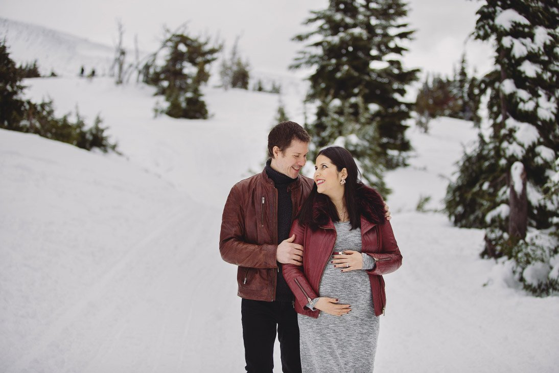 Maternity Photo Session - Couple Embracing, Hand on Belly